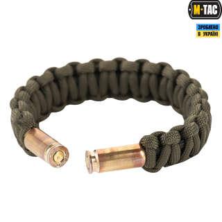 M-Tac браслет паракорд Каратель з гільзами 9мм олива/чорний