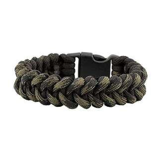 Браслет з паракорд, плетіння Піранья, black & black forest, Aramitex®