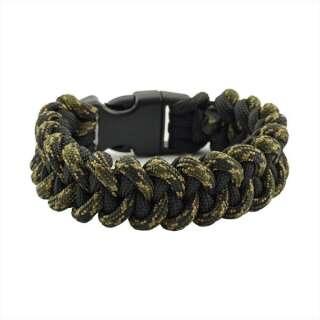Браслет з паракорд, плетіння Піранья, black & veteran, Aramitex®