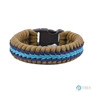 Браслет з паракорд, плетіння Риба, з синім палітуркою, Aramitex®