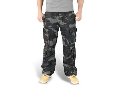 Брюки SURPLUS AIRBORNE VINTAGE TROUSERS, [1150] Black camo, Surplus Raw Vintage®