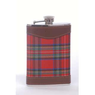Фляга ткань шотландка красная 0,24л