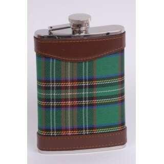 Фляга ткань шотландка зеленая 0,24л