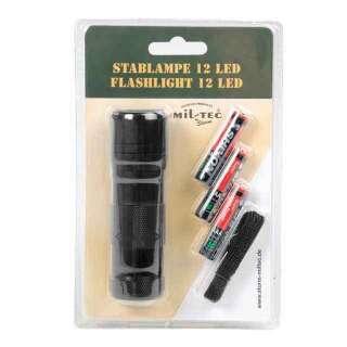 Фонарик Mil-Tec ручной 12 LED (3ААА), black, Mil-Tec Sturm
