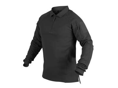 Футболка Polo RANGE с д/рукавами, Black, Helikon-Tex