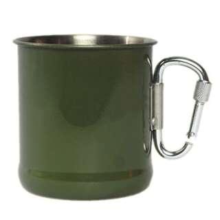 Кружка Mil-Tec военная стальная с карабином (Olive)(200 мл), Sturm Mil-tec Германия