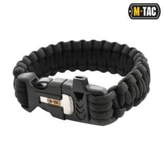 M-Tac браслет паракорд з іскровисекателем і свистком Black