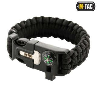 M-Tac браслет паракорд з іскровисекателем, компасом і свистком Black
