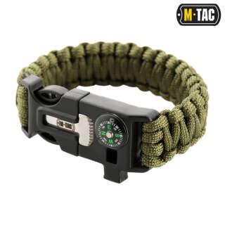 M-Tac браслет паракорд з іскровисекателем, компасом і свистком Olive