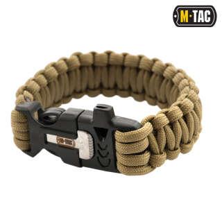 M-Tac браслет паракорд з іскровисекателем і свистком Tan