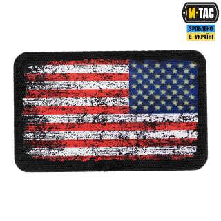 M-Tac нашивка прапор США реверс вантажу (80х50 мм) Black/GID