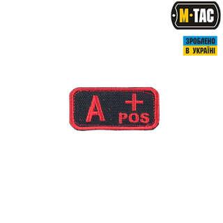 M-Tac нашивка группа крови A+ Pos черно-красная