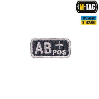 M-Tac нашивка группа крови AB+ Pos черно-серая