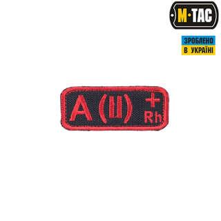 M-Tac нашивка группа крови A(II) Rh+ черно-красная