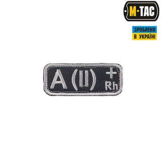 M-Tac нашивка група крові A (II) Rh + чорно-сіра