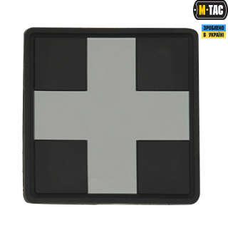 M-Tac нашивка Medic Cross Square PVC Black/Grey
