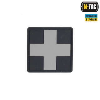 M-Tac нашивка Medic Cross Square ПВХ черный/серый (сорт 2)
