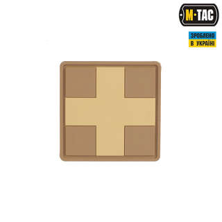 M-Tac нашивка Medic Cross Square ПВХ койот
