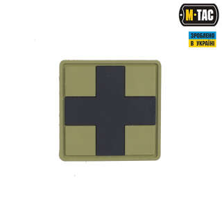 M-Tac нашивка Medic Cross Square ПВХ олива/чорний