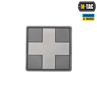 M-Tac нашивка Medic Cross Square ПВХ сіра