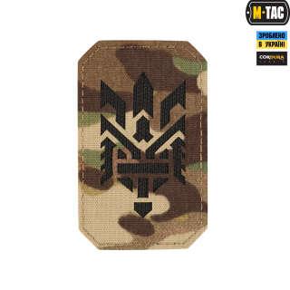 M-Tac нашивка Тризуб (стилизация) Laser Cut вертикальная Multicam/Black