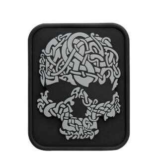 M-Tac нашивка Viking Skull ПВХ чорний/сірий
