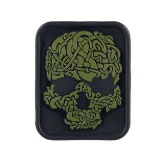 M-Tac нашивка Viking Skull ПВХ чорний/олива