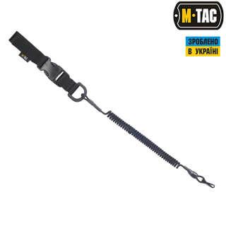 M-Tac шнур страховочный Medium под карабин с D-кольцом и фастексом черный