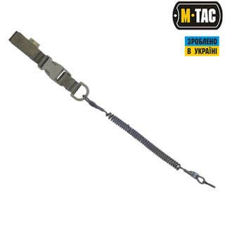 M-Tac шнур страхувальний Medium під карабін з D-кільцем і фастексом олива