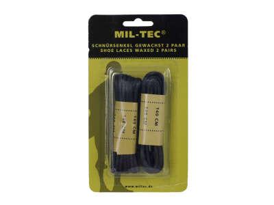 Шнурки вощеные, хлопок (Black), 140 см, Mil-tec