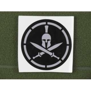 MSM Spartan Helmet Stencil Decal Grey on Black