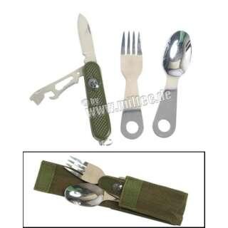 Набір столовий з ножем в чохлі, [182] Olive, Mil-tec