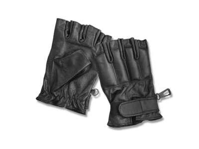 Перчатки кожаные без пальцев DEFENDER, [019] Black, Sturm Mil-Tec® Reenactment