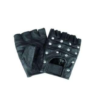 Рукавички Mil-Tec байкерські обрізані з клепками (Black), Mil-tec