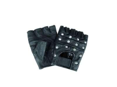 Перчатки Miltec байкерские обрезанные с клёпками (Black), Mil-Tec Sturm