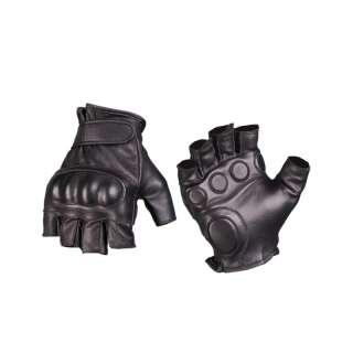 Рукавички тактичні шкіряні без пальців з демпфером, [019] Black, Sturm Mil-Tec®