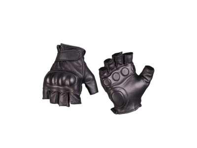 Рукавички тактичні шкіряні без пальців з демпфером, [019] Black, Mil-tec