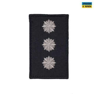 Погони Старший лейтенант Поліції (пара) на липучці чорні 10х5см