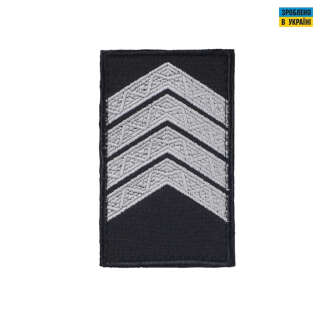 Погоны Старший сержант Полиции (пара) на липучке черные 10х5см