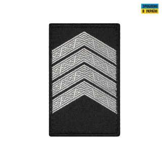 Погоны Старший сержант Полиции (пара) на липучке черные 8х5см